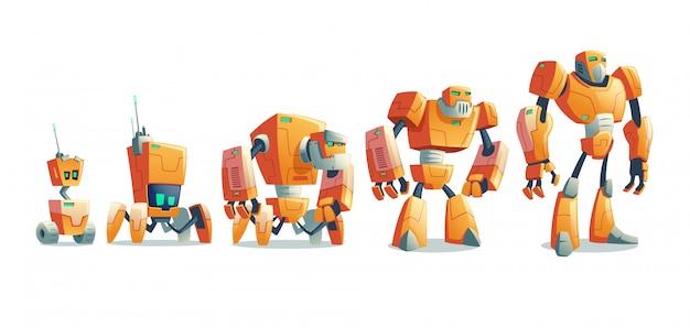 Roboty ewolucja linii kreskówka wektor koncepcji Darmowych Wektorów