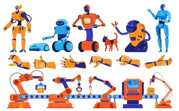 Roboty I Robotyka Wytwarzają Uzbrojenie, Urządzenia Przemysłowe, Maszyny Na Linii Montażowej, Ilustracja Robotników-inżynierów. Premium Wektorów