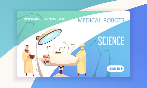 Roboty Medyczne Lądujące Strony Z Chirurgami W Sali Operacyjnej Wyposażonej W Nowoczesne Urządzenia Ilustracyjne Darmowych Wektorów