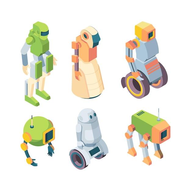 Roboty Technologiczne Wspomagają Przyszły Zestaw Izometrii Premium Wektorów