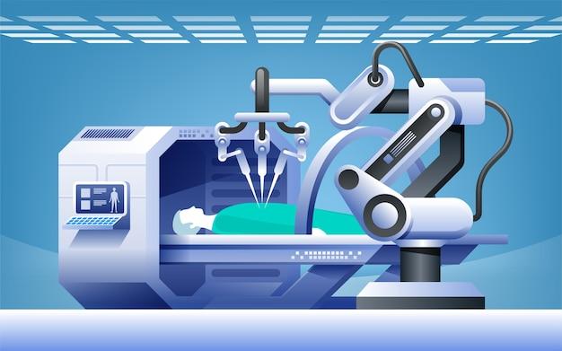 Roboty W Medycynie. Innowacyjna Medycyna. Chirurgia Robotyczna. Koncepcja Nowoczesnych Technologii Medycznych. Premium Wektorów