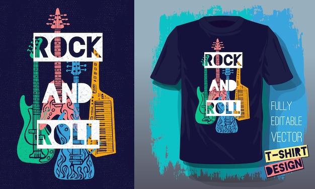 Rock And Roll Muzyka Napis Slogan Styl Retro Gitara Elektryczna, Gitara Basowa, Fortepian Do Projektowania T Shirt Premium Wektorów
