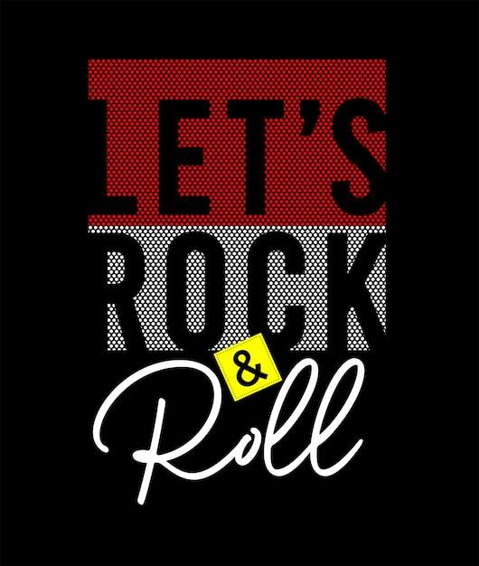 Rock And Roll Typografia Do Koszulki Z Nadrukiem Premium Wektorów