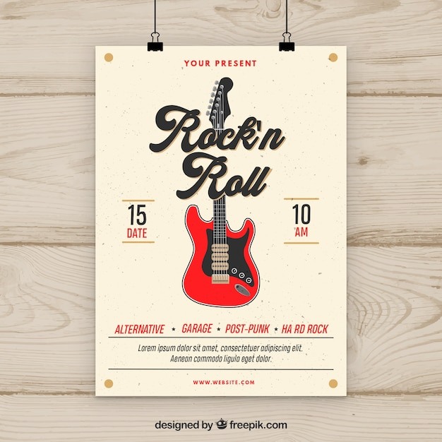Rock N Roll Music Party Flyer Darmowych Wektorów