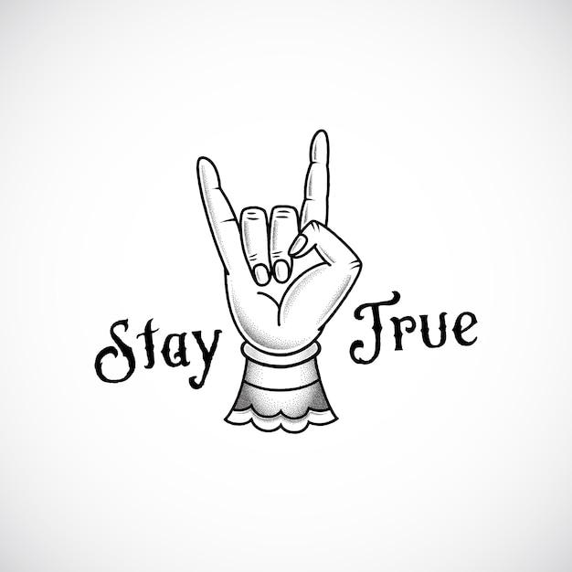 Rock Ręcznie Retro Tatuaż Styl Streszczenie Wektor Naklejki, Znak Lub Godło Z Zachowaniem Prawdziwej Wiadomości. Premium Wektorów