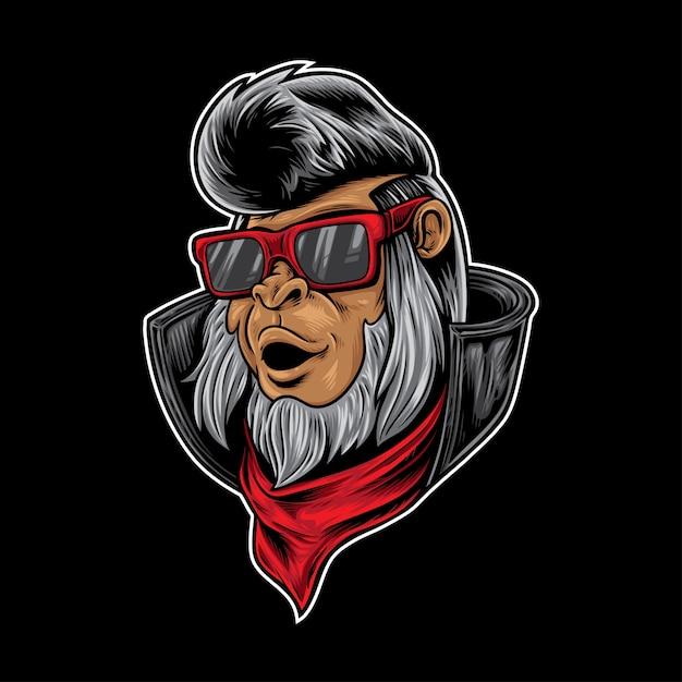 Rocker Hipster Małpa Premium Wektorów