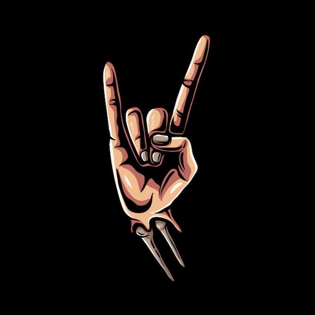 Rockowy Ręka Znak Z Zredukowaną Ilustracją Premium Wektorów