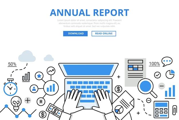 Roczne Sprawozdanie Finansowe Koncepcja Stylu Płaskiej Linii. Ręce Do Pracy Na Laptopie Kalkulator Dokument Graficzny. Darmowych Wektorów