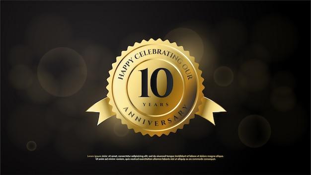 Rocznica Numer Uroczystości Z Liczbą 10 W Złocie W Złotym Godle. Premium Wektorów