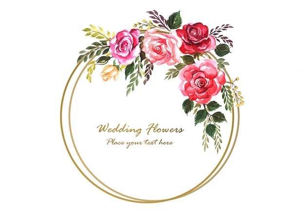 Rocznica ślubu Dekoracyjne Ramki Kwiatowy Dla Karty Z Pozdrowieniami Darmowych Wektorów