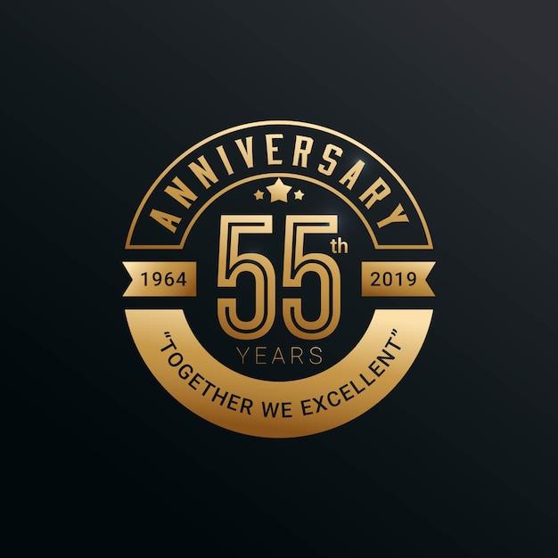 Rocznica Złota Odznaka 55 Lat W Złotym Stylu Premium Wektorów