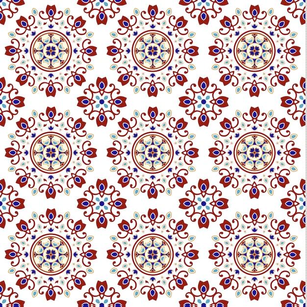 Rocznik Ceramicznej Płytki Bezszwowy Wzór Z Kolorowym Patchworkiem Premium Wektorów