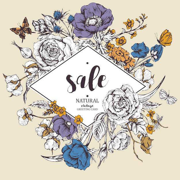 Rocznik kwiecista wektorowa sprzedaży karta z różami, anemonami i butterf Premium Wektorów