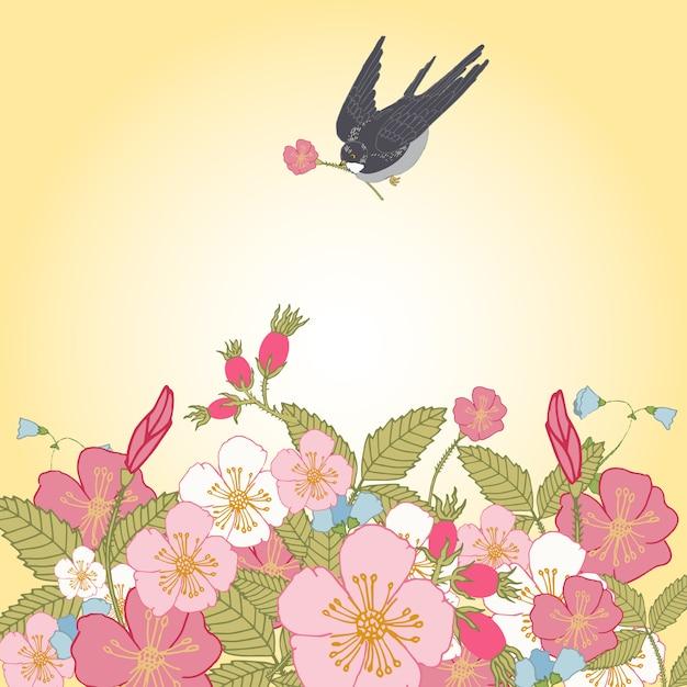 Rocznik kwitnie tło z ptakiem Darmowych Wektorów