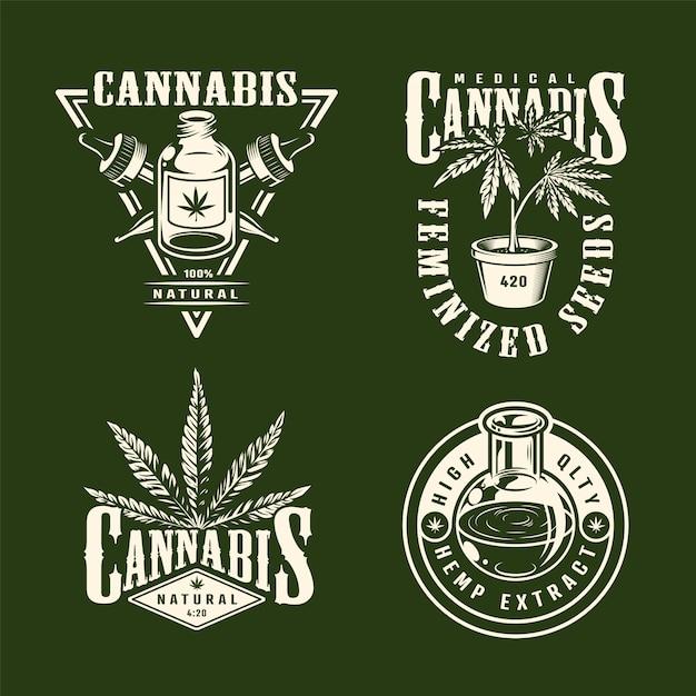Rocznik Marihuany Monochromatyczne Etykietki Ustawiać Z Konopianymi Olej Pipet Marihuaną Zasadzają Odosobnioną Wektorową Ilustrację Darmowych Wektorów