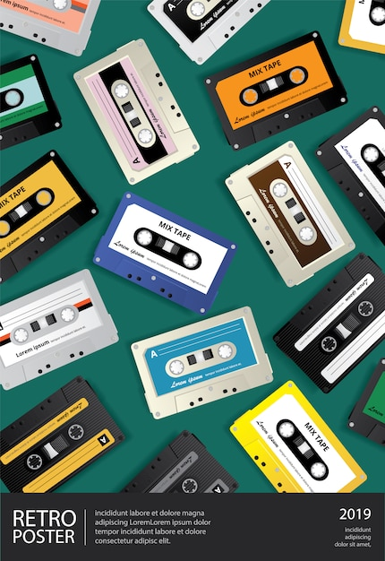 Rocznik retro kasety taśmy projekta szablonu plakatowa ilustracja Premium Wektorów