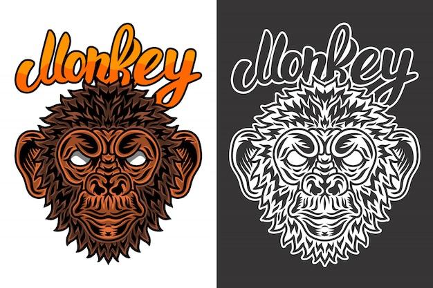 Rocznik Zwierzęcej Twarzy Małpy Ilustracja Premium Wektorów