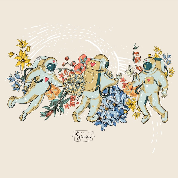 Rocznika astronauta wektorowa ilustracja z kwiatami. science fiction, ręcznie rysowana przestrzeń, Premium Wektorów
