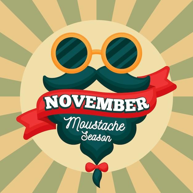 Rocznika Movember Wąsy Sezonu Tło Darmowych Wektorów