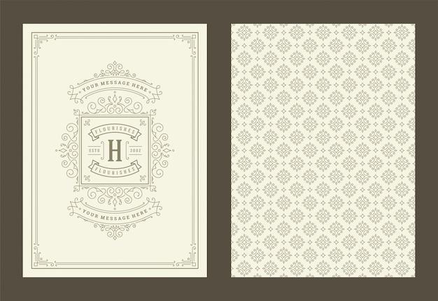 Rocznika Ornamentu Kartka Z Pozdrowieniami Kaligraficzni Ozdobni Zawijasy I Winiety Obramiają Projekta Wektor Premium Wektorów