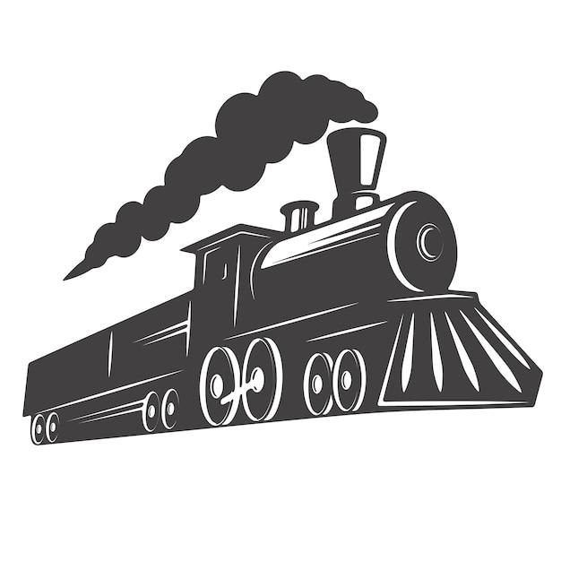 Rocznika Pociąg Na Białym Tle. Element Logo, Etykieta, Godło, Znak. Ilustracja Premium Wektorów