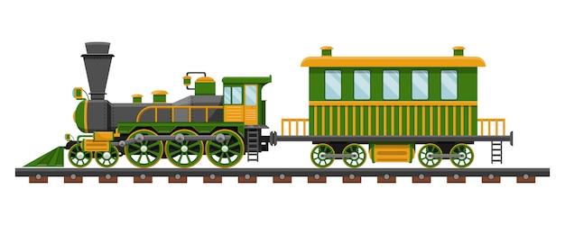 Rocznika Pociąg Na Linia Kolejowa Projekta Ilustraci Odizolowywającej Na Białym Tle Premium Wektorów