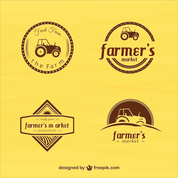 Rocznika rolnicy plakietki rynku Darmowych Wektorów