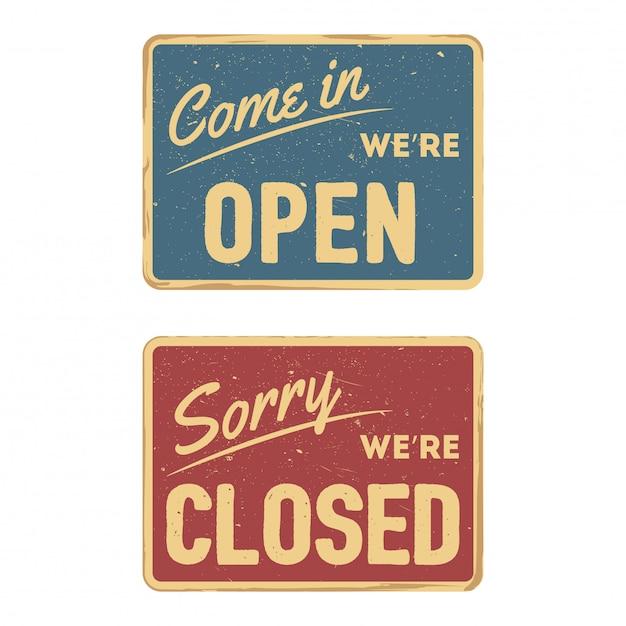 Rocznika Znak Otwarty I Zamknięty Odosobniony Na Białym Tle Premium Wektorów