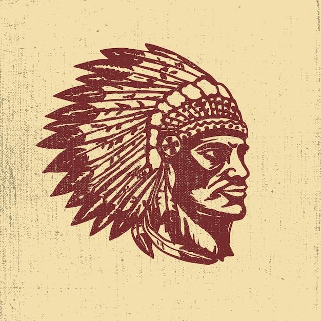 Rodowity Amerykanin Szefa Głowy Ilustracja. Elementy Logo, Etykiety, Godło, Znak. Ilustracja Premium Wektorów