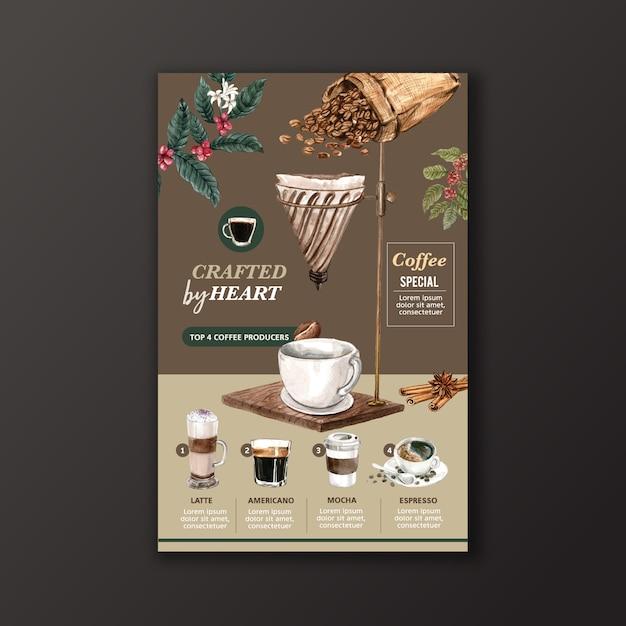 Rodzaj filiżanki kawy, americano, cappuccino, menu espresso, infografika ilustracja akwarela Darmowych Wektorów