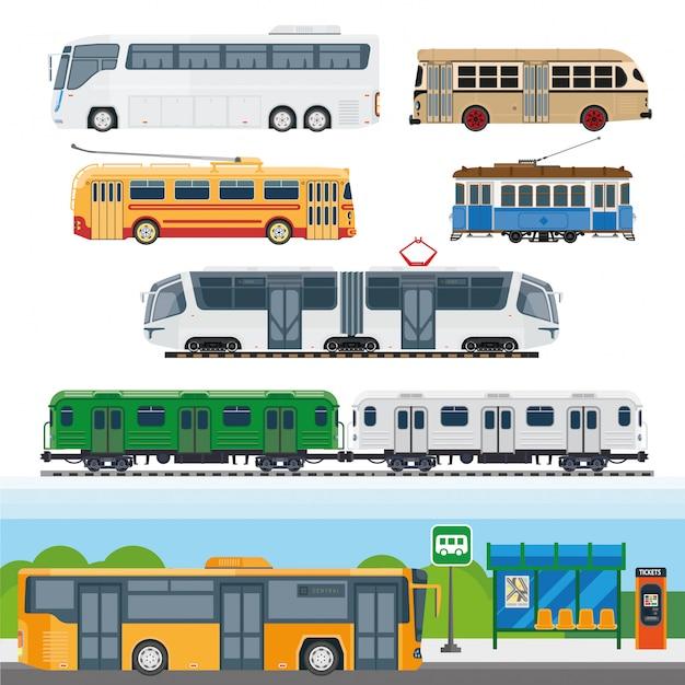 Rodzaje autobusów Premium Wektorów