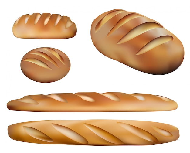 Rodzaje chleba i produkty piekarnicze. pięć realistycznych chlebów Premium Wektorów