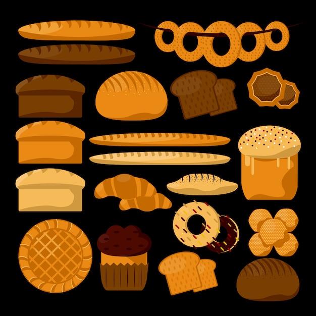 Rodzaje produktów piekarniczych lub cukierniczych. Premium Wektorów