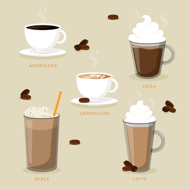 Rodzaje Pysznej Kawy I Kawy Mrożonej Premium Wektorów