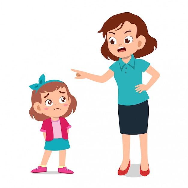 Rodzic z dzieckiem płacze Premium Wektorów