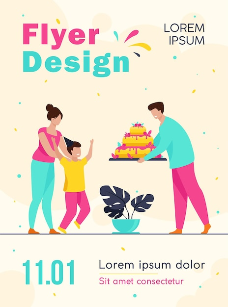 Rodzice Dając Szablon Ulotki Urodzinowy Tort Synowi Darmowych Wektorów
