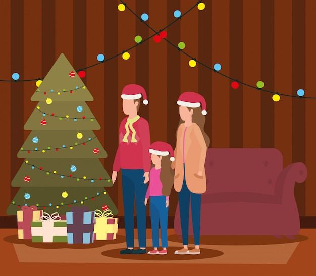 Rodzice i córka świętuje boże narodzenie w salonie z drzewem Premium Wektorów