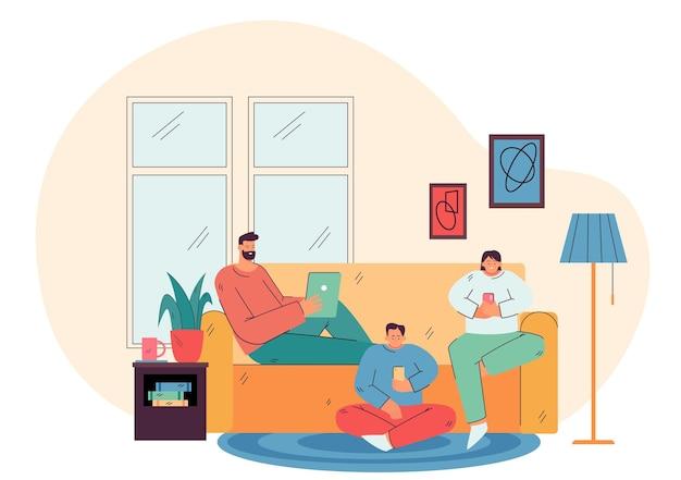 Rodzice I Dziecko Trzymający W Domu Telefony Komórkowe I Tablety, Rozmawiając Online W Mediach Społecznościowych Darmowych Wektorów