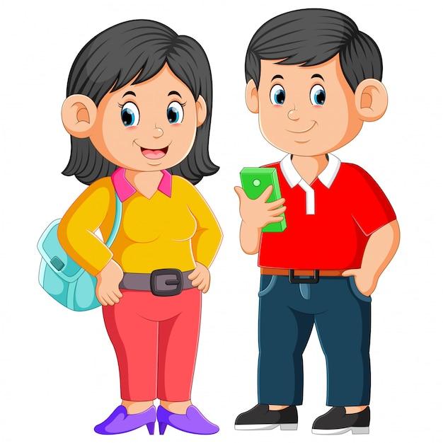 Rodzice pozują przed wyjazdem do pracy Premium Wektorów