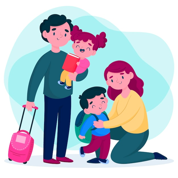 Rodzice Przytulają Swoje Dzieci Przed Szkołą Premium Wektorów