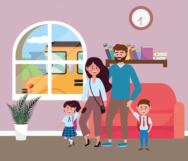 Rodzice z dziećmi chodzą do szkoły Darmowych Wektorów