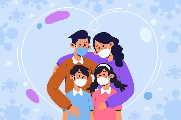Rodzina Chroniona Przed Wirusem Darmowych Wektorów