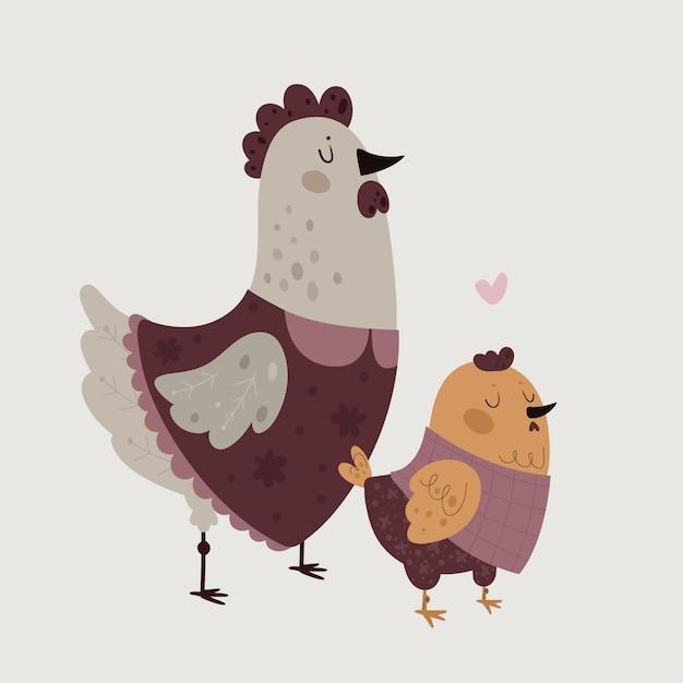 Rodzina farmy mama i dziecko Premium Wektorów