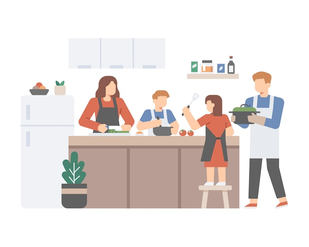 Rodzina Gotuje Razem W Kuchni Premium Wektorów