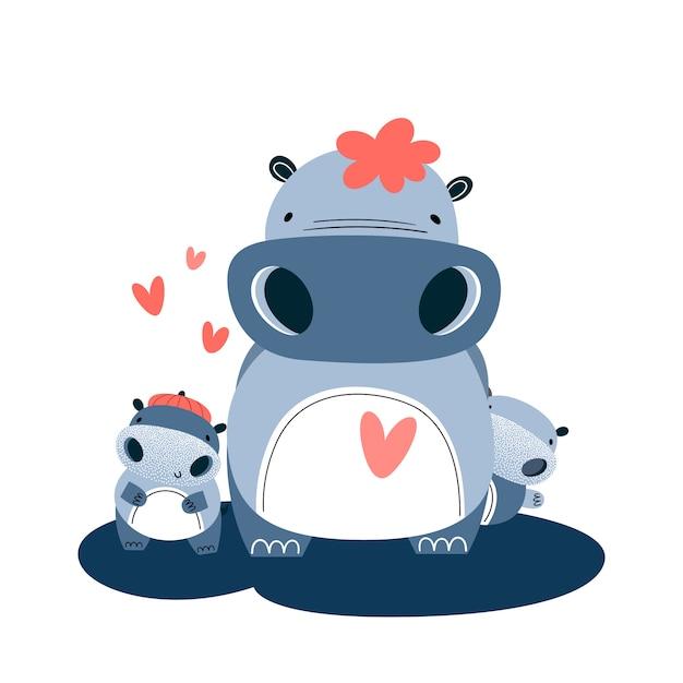 Rodzina hipopotamów. mamusia i dwoje dzieci. ilustracji wektorowych Premium Wektorów