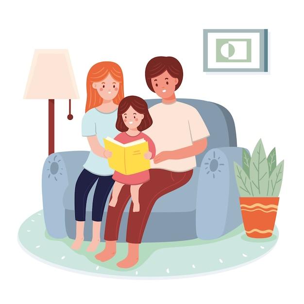 Rodzina I Dziecko Wspólnie Spędzają Czas Darmowych Wektorów