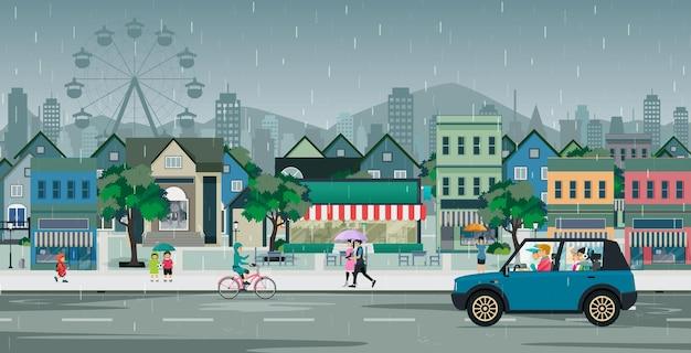 Rodzina Jechała Drogą, Kiedy W Mieście Padał Deszcz. Premium Wektorów