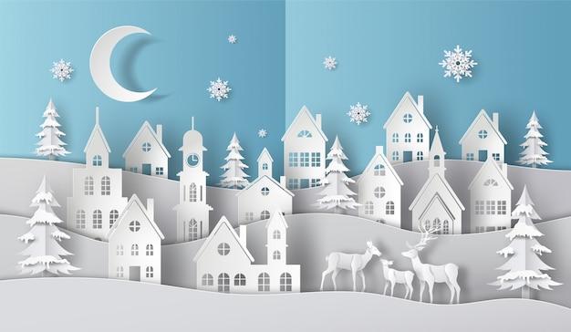 Rodzina jeleni w wiosce w scenie świątecznej, wesołych świąt i szczęśliwego nowego roku. Premium Wektorów