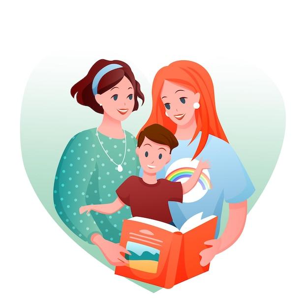 Rodzina Lesbijek. Kreskówka Szczęśliwa Kochająca Dwie Matki Z Dzieckiem Chłopiec Czytanie Książki Razem Premium Wektorów