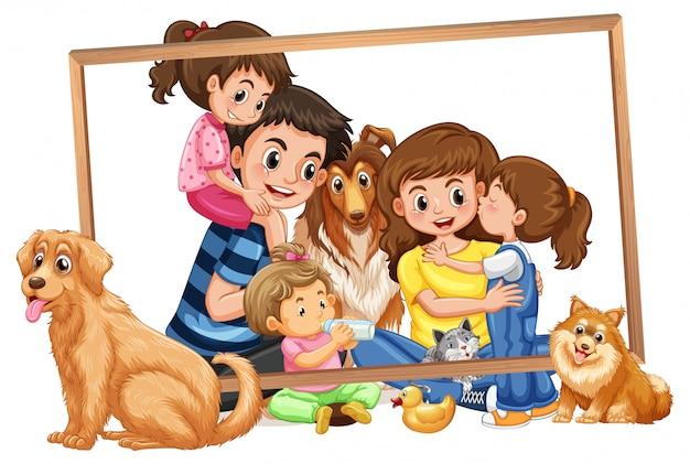 Rodzina na drewnianej ramie Darmowych Wektorów